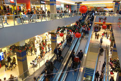 Shopping Mall Christmas Time Season Customers Stock Photos