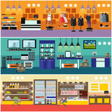Shopping in a mall concept vector banner. Consumer electronics store Interior. Products in food supermarket Stock Photography