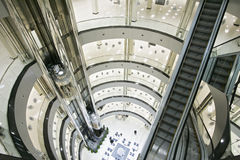 Shopping Mall. Elevators, glass and metal Stock Photo