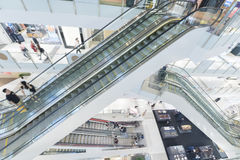 Shopping mall. Escalator in modern shopping mall Royalty Free Stock Photography