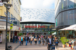 Shopping mall in Essen, Germany. Limbecker Platz shopping mall in Essen, Germany. It has a total sales area of 70,000 square meters with around 200 stores. The stock photography