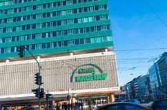 Shopping mall exterior. DUSSELDORF, GERMANY - DECEMBER 14, 2014: Exterior of Galeria Kaufhof, a German department store chain and one of Europe's leading ones Stock Photos