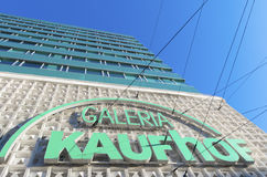 Shopping mall exterior. DUSSELDORF, GERMANY - DECEMBER 14, 2014: Exterior of Galeria Kaufhof, a German department store chain and one of Europe's leading ones Royalty Free Stock Photography