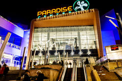 Shopping mall facade at night. SOFIA,BULGARIA-25.12.16: Paradise center shopping mall with christmas decoration .Night scene in Sofia Stock Image