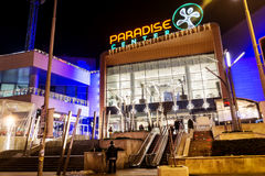 Shopping mall facade at night. SOFIA,BULGARIA-25.12.16: Paradise center shopping mall with christmas decoration .Night scene in Sofia Stock Images