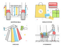 Shopping at mall flat line illustration Royalty Free Stock Photo