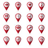 Shopping mall icons with location icon Stock Photo