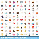 100 shopping mall icons set, cartoon style Royalty Free Stock Image