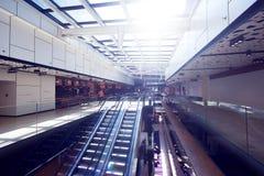 Shopping mall interior  escalator Royalty Free Stock Images