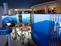 Shopping mall interior. With LED screens Royalty Free Stock Images