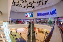 Shopping mall interior. Moscow, Russia - December 10, 2017: Cinema zone Kinomax in Columbus shopping mall interior with fisheye effect Stock Photography