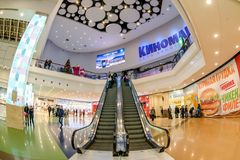 Shopping mall interior. Moscow, Russia - December 10, 2017: Cinema zone Kinomax in Columbus shopping mall interior with fisheye effect Stock Images