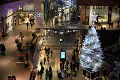 Shopping Mall Interior View. People visit Cabot Circus shopping mall during the Christmas holiday shopping season on November 7, 2014 in Bristol, UK. The mall Royalty Free Stock Photos