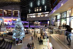 Shopping Mall Interior View. People visit Cabot Circus shopping mall during the Christmas holiday shopping season on November 7, 2014 in Bristol, UK. The mall Stock Image
