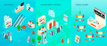 Shopping Mall Isometric Banners Set Royalty Free Stock Photography