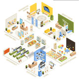Shopping Mall Isometric Composition Poster. Shopping mall electronics store children playroom information  center supermarket and beauty salon isometric Stock Photos