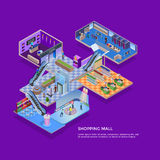 Shopping Mall Isometric Concept Royalty Free Stock Photos