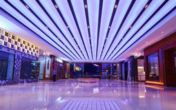 Shopping mall lobby led ceiling lighting. Modern led ceiling lighting in a lighting shop window royalty free stock photography