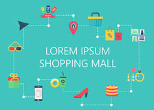 Shopping mall map concept vector. Interactive navigation icons infographic. Royalty Free Stock Photo