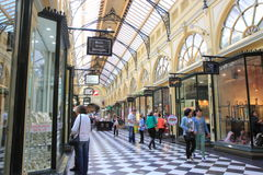 Shopping mall Melbourne. Tourists shopping in a historic shopping mall on Collins street Melbourne Australia Stock Images