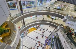 Shopping Mall with modern architecture several floors equipped. Ho Chi Minh City, Vietnam - January 8th, 2017: Shopping Mall with modern architecture several Royalty Free Stock Image