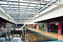 Shopping mall. Modern bright shopping mall indoor architecture Royalty Free Stock Photos