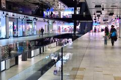 Shopping mall. Modern bright shopping mall indoor architecture Stock Images