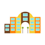 Shopping Mall Modern Building Exterior Design Project With Large Arch Template Isolated Flat Illustration Stock Photo