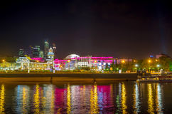 Shopping mall on Moskva river bank Royalty Free Stock Image