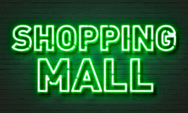 Shopping mall neon sign Royalty Free Stock Images