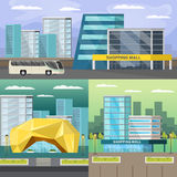 Shopping Mall Orthogonal Compositions Set. Set of orthogonal compositions with shopping mall and road infrastructure on cityscape background  vector illustration Stock Images