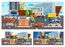 Shopping Mall Parking Compositions Set Stock Image