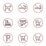 Shopping mall prohibition signs set on white background Stock Photo