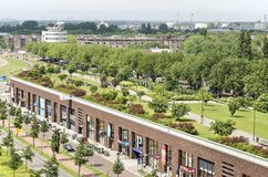 Shopping mall and roof park. Rotterdam, The Netherlands, June 3, 2018: Brick facade of a shopping mall and the Dakpark roof park on top of it Stock Photo