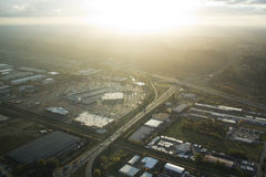 Shopping Mall at Sunset - Aerial. Mall in valley at sunset Royalty Free Stock Photos
