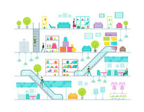 Shopping mall vector illustration stock images