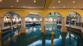 Shopping Mall in The Venetian Macao. Casino along the Canal Royalty Free Stock Image