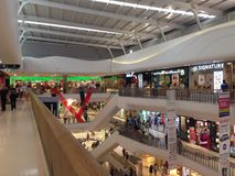 Shopping mall view. The image of the beautiful view in local shopping mall Stock Photos