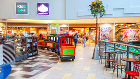 Shopping mall in Vilnius. Panorama shopping mall interior in Vilnius, Lithuania Royalty Free Stock Photos