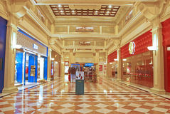 Shopping Mall Walkway in The Venetian Macao. With Big Name Shops Royalty Free Stock Images