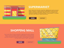Shopping Mall Web Templates in Flat Design. Royalty Free Stock Images