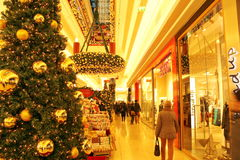 Shopping mall in winter holidays season Stock Photos