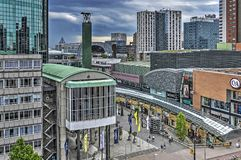 Shopping mall and world trade center. Rotterdam, The Netherlands, June 3, 2017: View of Koopgoot shopping mall and Beurs World Trade Center, with Markthal and Royalty Free Stock Images