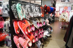 Shopping malls display of slippers Royalty Free Stock Photo