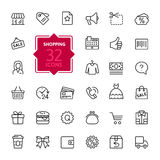 Shopping malls, retail - outline web icon collection, vector, thin line icons collection Stock Images