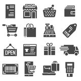 Shopping malls, retail icons set. Shopping malls, retail - web icons collection Royalty Free Stock Photography