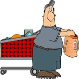 Shopping man. This illustration depicts a man shopping and holding a pair of men's boxers Stock Photo