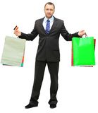 Shopping man. Happy shopping man. Isolated over white background Stock Photos