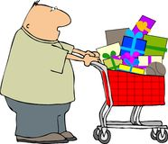 Shopping man. This illustration depicts a man pushing a shopping cart full of wrapped gifts Stock Photos
