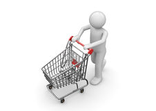 Shopping man with cart Royalty Free Stock Photo